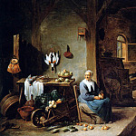 David II Teniers - Teniers David Interior of a peasant dwelling Sun