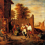 David II Teniers - Teniers_David_Peasants_Merrymaking_Outside_An_Inn