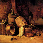 David II Teniers - Teniers_David_An_Interior_Scene_With_Pots_Barrels_Baskets_Onions_And_Cabbages