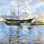 John Henry Twachtmann - twachtman_bark_and_schooner_(italian_salt_bark)_1900