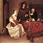 Gerard Terborch - A Young Woman Playing A Theorbo To Two Men