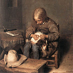Gerard Terborch - Boy_Ridding_his_Dog_of_Fleas_WGA