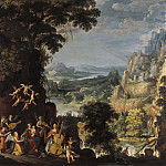 Unknown painters - Landscape with the flight into Egypt