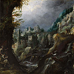 Mountain landscape with deserted river, classical ruins and shepherds
