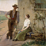 Henri Adriene Tanoux - Peasant Couple in a Farmyard