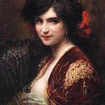 Henri Adriene Tanoux - Portrait of a Spanish Lady bust length wearing a red jacket with gold brocade holding a fan