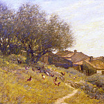 Henry Herbert La Thangue - A Hillside Village in Provence