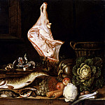 Unknown painters - Still Life with a Joint of Veal, Greens and Fish