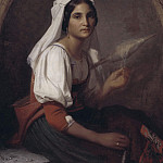 Unknown painters - An Italian Woman Spinning Flax