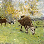 Unknown painters - Landscape with cows