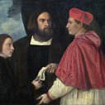 Titian (Tiziano Vecellio) - Girolamo and Cardinal Marco Corner Investing Marco, Abbot of Carrara, with His Benefice