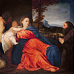 Titian (Tiziano Vecellio) - Virgin and Infant with Saint John the Baptist and Donor