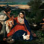 Virgin and Child with Saint Catherine and a Shepherd, called the Virgin with a Rabbit, Titian (Tiziano Vecellio)