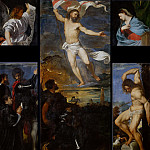 Titian (Tiziano Vecellio) - Averoldi Polyptych - Resurrection, Saints Nazarius and Celsus with Altobello Averoldi, Saint Sebastian and Annunciation