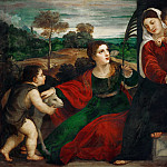 Titian (Tiziano Vecellio) - Madonna and child with Saint Agnes and Saint John Baptist
