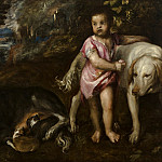 Titian (Tiziano Vecellio) - Boy with dogs in a landscape