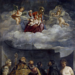 Giotto di Bondone - Madonna and Child in Glory with Saints Catherine, Nicholas, Peter, Sebastian, Francis, and Antony of Padua