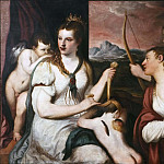 Titian (Tiziano Vecellio) - Venus ties ties to Amor's eyes [After]
