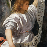 Averoldi Polyptych, detail - The Angel of the Annunciation, Titian (Tiziano Vecellio)