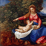 Titian (Tiziano Vecellio) - Madonna and Child in a Landscape with Tobias and the Angel