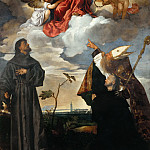 Madonna and Child with Saint Francis and the Donor Luigi Gozzi with St. Louis of Toulouse, Titian (Tiziano Vecellio)