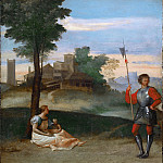 Titian (Tiziano Vecellio) - An Idyll - A Mother and a Halberdier in a Landscape