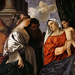 Titian (Tiziano Vecellio) - Madonna and Child with four Saints