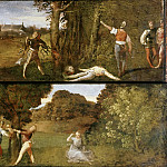 Titian (Tiziano Vecellio) - Death of Polydorus and Birth of Adonis (Cassone panels)