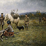 Robert Thegerström - Lapps Collecting Reindeer which have Been Shot