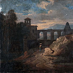 Pierre-Jacques Volaire - Landscape with Buildings and an Aqueduct