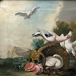 David II Teniers - Landscape with Pigeons