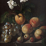 Still Life with Fruit and White Roses