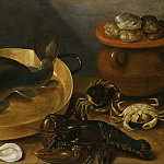 Unknown painters - Kitchen Still Life with a Carp and Shellfish