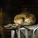 Still Life with a Loaf of Bread, Oysters and a Flask