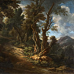 Unknown painters - Landscape with a Road through a Forest