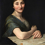 Unknown painters - Portrait of female artist with drawing