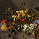 Carl de Unker - Still Life with Fruit and a Monkey eating Grapes