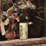 Fritz Von Uhde - Flowers on the fireplace