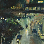 Lesser Ury - Nollendorfplatz at night