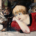 Lovis Corinth - In Cafe. Woman in red