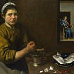 Diego Rodriguez De Silva y Velazquez - Christ in the House of Martha and Mary