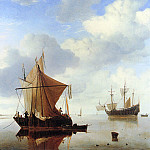 Willem van de Velde the Younger - Velde van de Willem jr A calm sea Sun