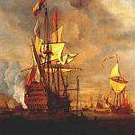 Willem van de Velde the Younger - Velde-The-Younger_The_royal _Sovereign_With_A_Royal_Yacht_In_A_Light_Air_1703