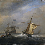 Unknown painters - Fishing Boats in a Gabe