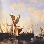 Willem van de Velde the Younger - Velde-The-Younger_Breakwater_With_Ships_And_A_Yacht_Setting_Sail_1673