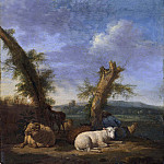 Carl de Unker - Landscape with Sheep and a Sleeping Shepherd
