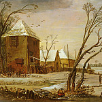 Van De Esaias Velde - De Velde Esaias Van (Amsterdam) 1590 to 1630 A Winter Landscape With Skaters On A Frozen River S