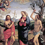 Lorenzo Lotto - Madonna with Saints John the Baptist and Sebastian