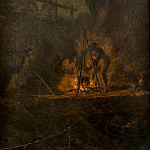 Carl Wahlbom - Men near a Fire in the Mountains