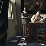 Lady Writing a Letter with her Maid, Johannes Vermeer